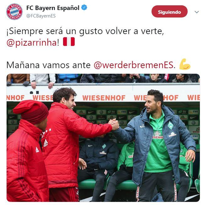 El saludo de Bayern Munich a Claudio Pizarro. (Foto: Twitter)