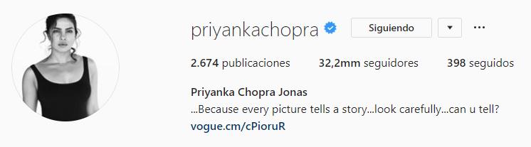 Priyanka Chopra cambia su nombre en Instagram (Foto: Captura de pantalla)