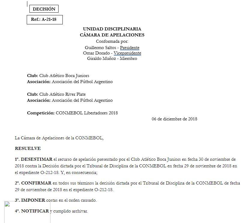 El comunicado de la Conmebol. (Foto: Conmebol)