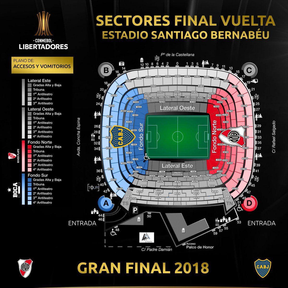 River Plate vs. Boca Juniors: así será la distribución de los hinchas en el Santiago Bernabéu. (Foto: Conmebol)