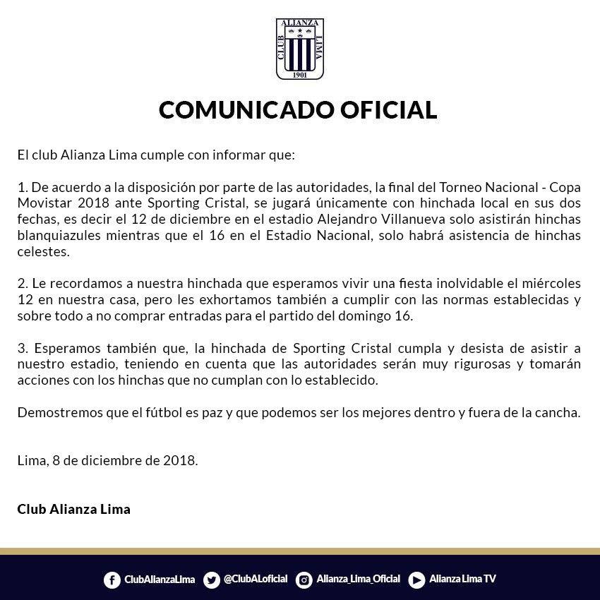 El comunicado de Alianza Lima para la final de vuelta ante Sporting Cristal. (Foto: Alianza Lima)