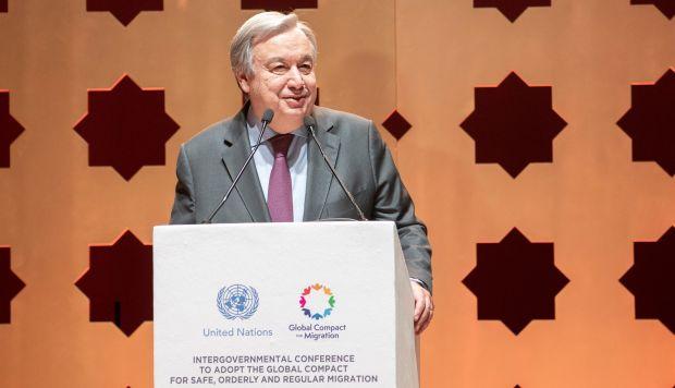El secretario general de la ONU, António Guterres, habla durante la inauguración de la Conferencia Intergubernamental para Adoptar el Pacto Global para la migración regular, segura y ordenada. (Foto: EFE)