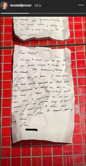 Carta a Kendall Jenner. (Foto: Instagram)