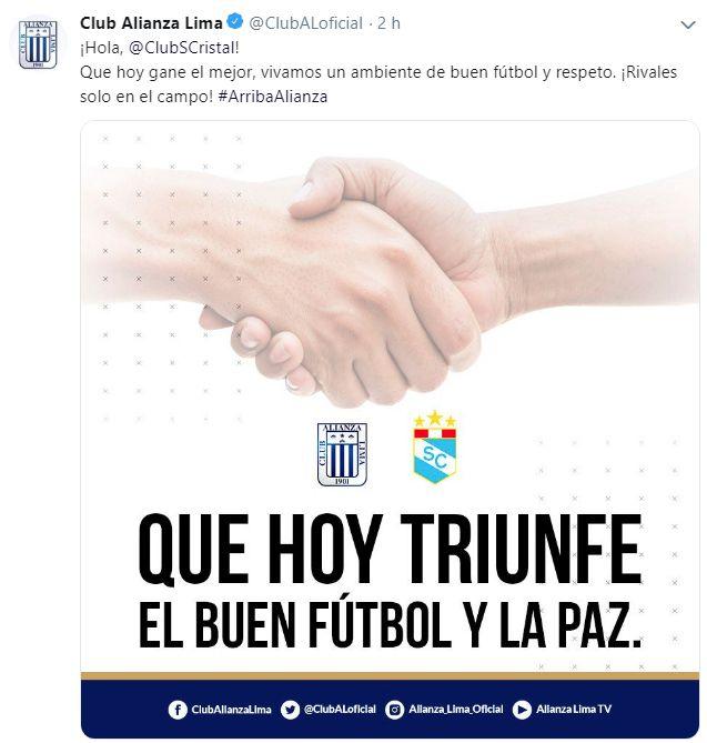 La publicación de Alianza Lima previo a la primera final. (Foto: Facebook)
