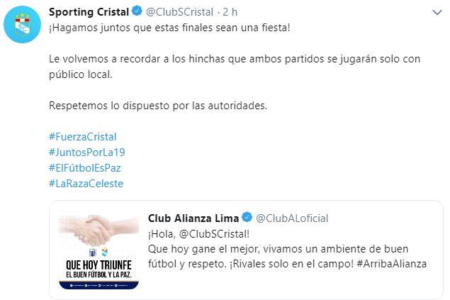 La respuesta de Sporting Cristal en Twitter. (Foto: Sporting Cristal)