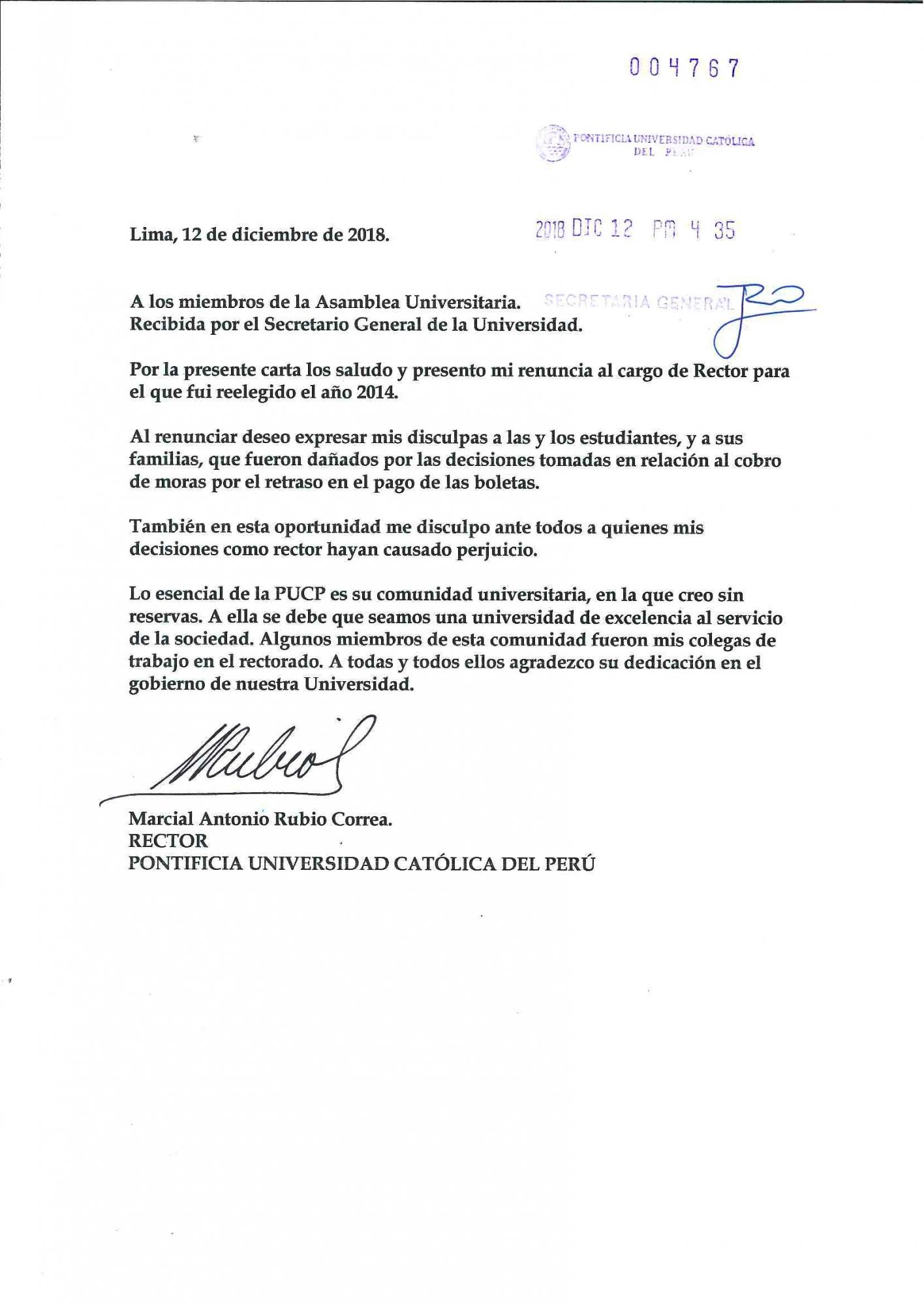 Esta es la carta de renuncia de Marcial Rubio a su cargo de rector de la PUCP. (Difusión)