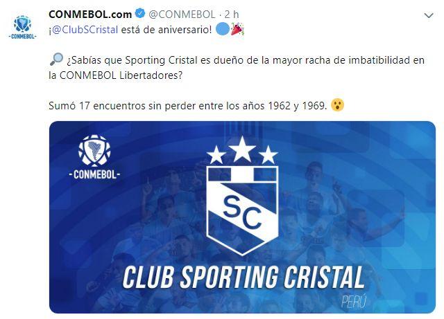 El saludo de la Conmebol a Sporitng Cristal por sus 63 años. (Foto: Twitter)