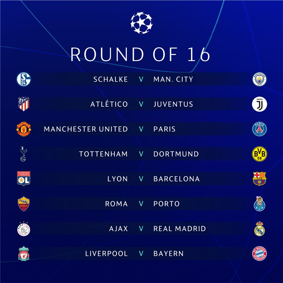 Llaves de octavos de final de la Champions League. (Foto: UEFA)