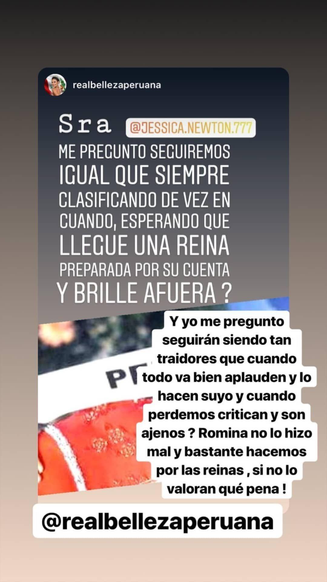 Jessica Newton le respondió a usuario que criticó participación de Romina Lozano en el Miss Universo 2018. (Foto: @jessica.newton.777)