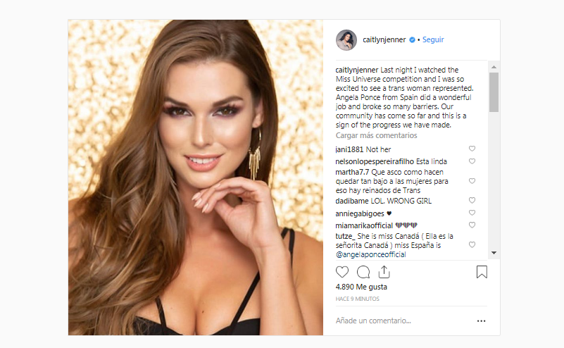 Caitlyn Jenner confunde a Miss España con candidata de Canadá. (Foto: Instagram)