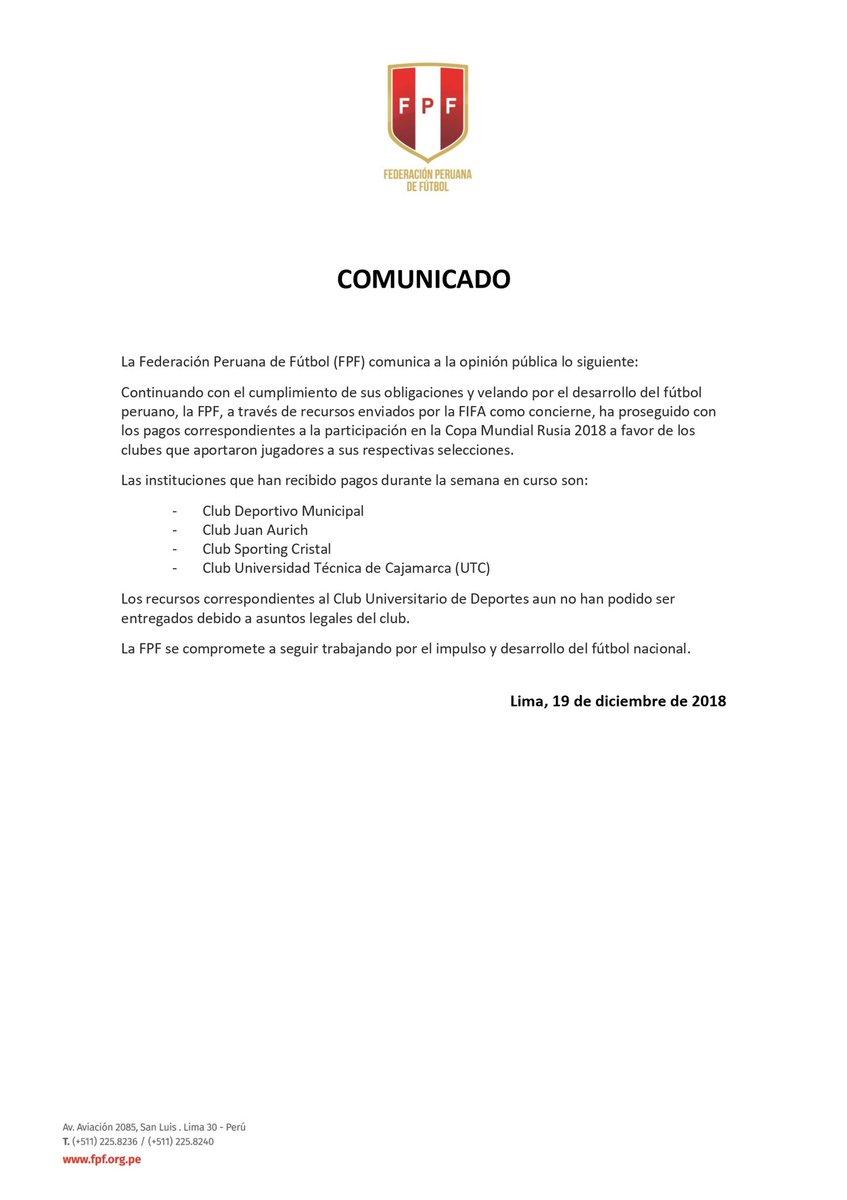El comunicado de la FPF sobre los pagos a los clubes. (Foto: FPF)