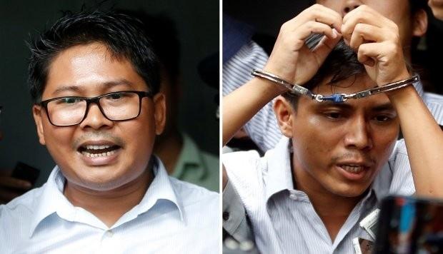 Wa Lone y Kyaw Soe Oo, de 32 y 28 años, respectivamente, fueron detenidos la noche del 12 de diciembre de 2017 en posesión de documentos confidenciales. (Foto: EFE)