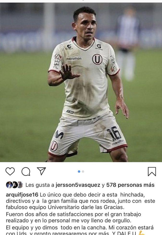 Arquímedes Figuera anunció asi su partida de Universitario de Deportes. (Foto: Instagram)