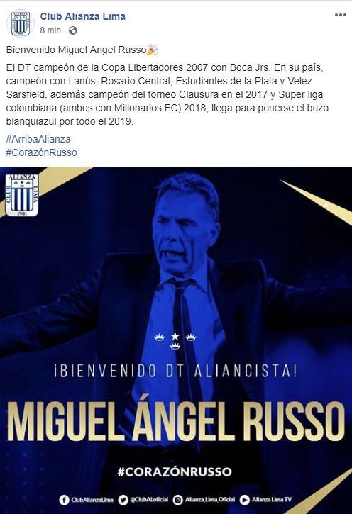 Así anunció Alianza Lima la llegada de Miguel Ángel Russo.