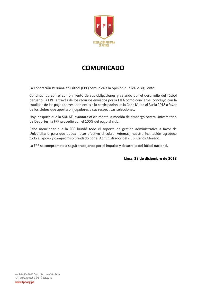 El comunicado de la FPF sobre el pago a Universitario de Deportes. (Foto: FPF)