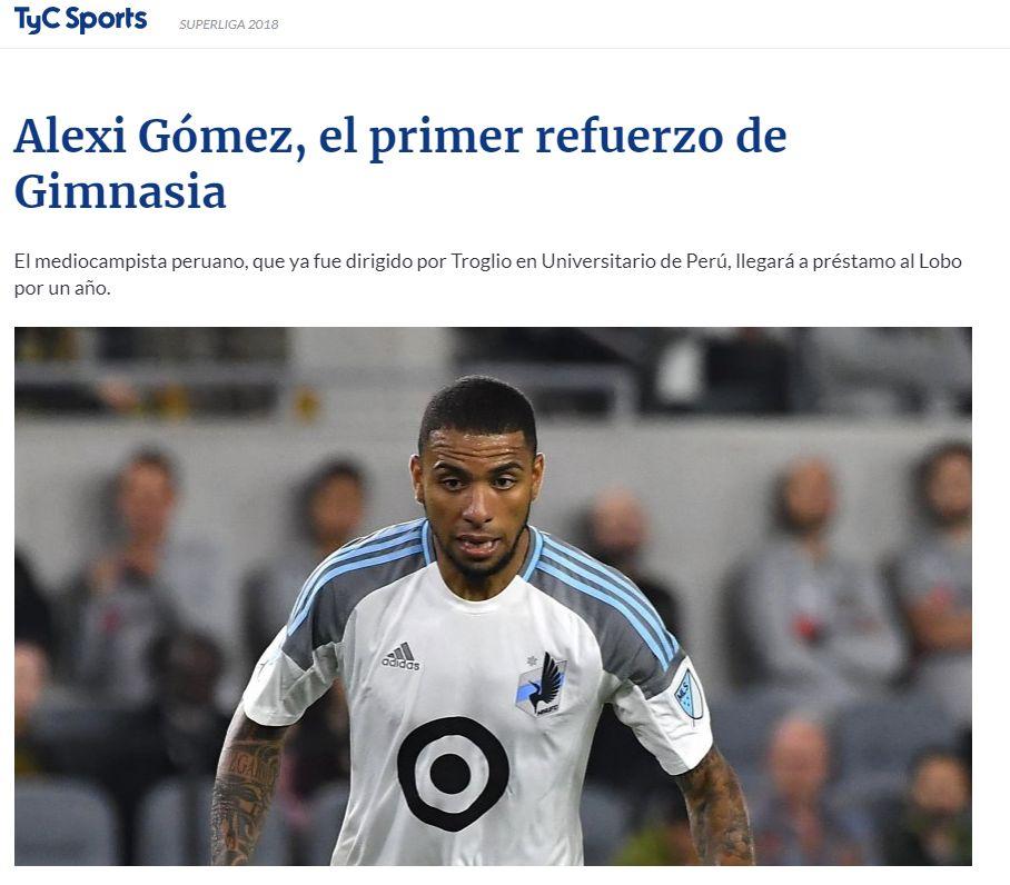 Así informó TyC la noticia sobre Alexi Gómez. (Foto: TyC)