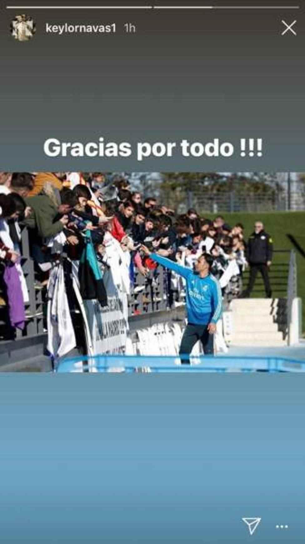 El mensaje de Keylor Navas en Instagram (Foto: Captura).