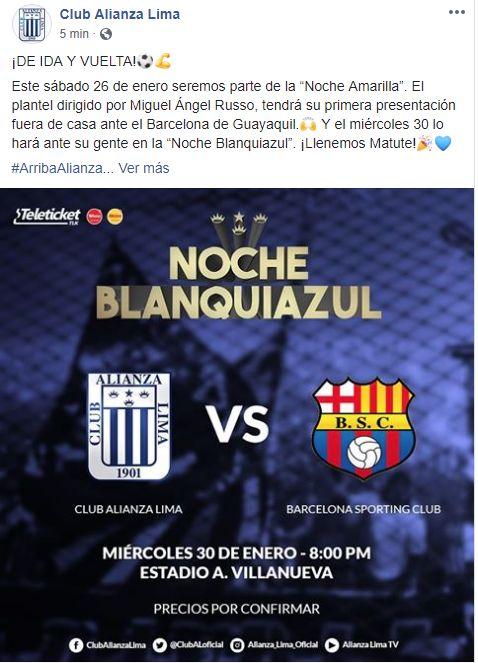 Alianza Lima confirmó fecha y rival para la Noche Blanquiazul. (Foto: Alianza Lima)