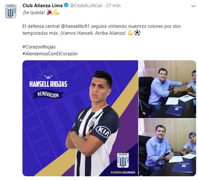 El anuncio de la renovación de contrato de Hansell Rojas.