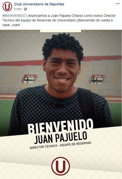 Juan Pajuelo fue parte del comando técnico del primer equipo de Universitario hace algunos años.