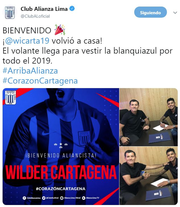 Alianza Lima anunció la llegada de Wilder Cartagena.