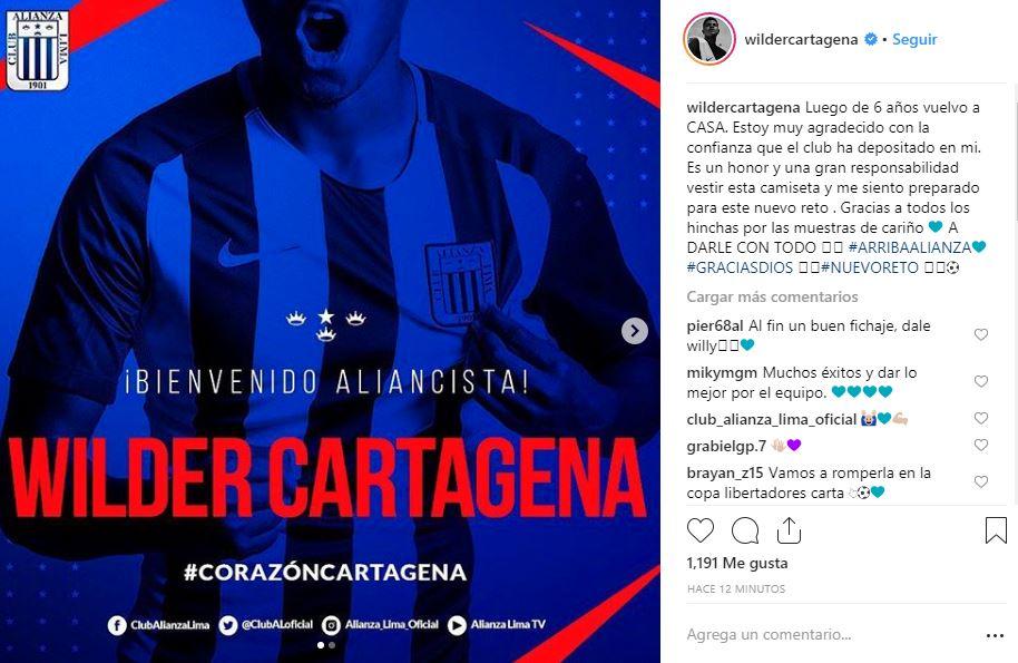 Wilder Cartagena y su mensaje en Instagram tras firmar por Alianza Lima. (Foto: captura)