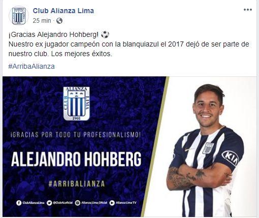 La publicación de Alianza Lima sobre Alejandro Hohbeg.