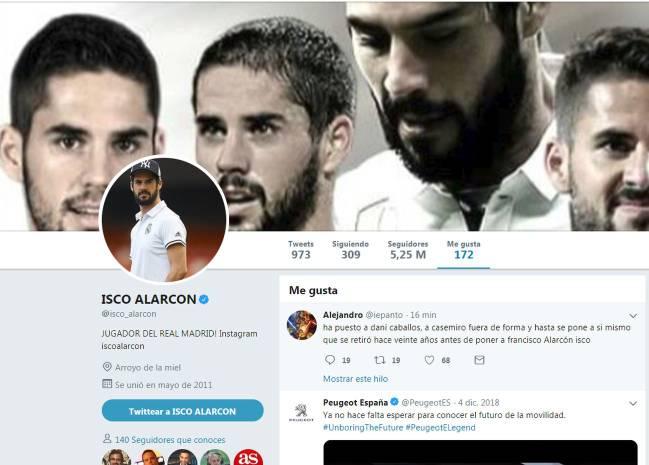 Isco Alarcón le dio me gusta a un tuit contra Santiago Solari. Luego lo borró. (Foto: captura)
