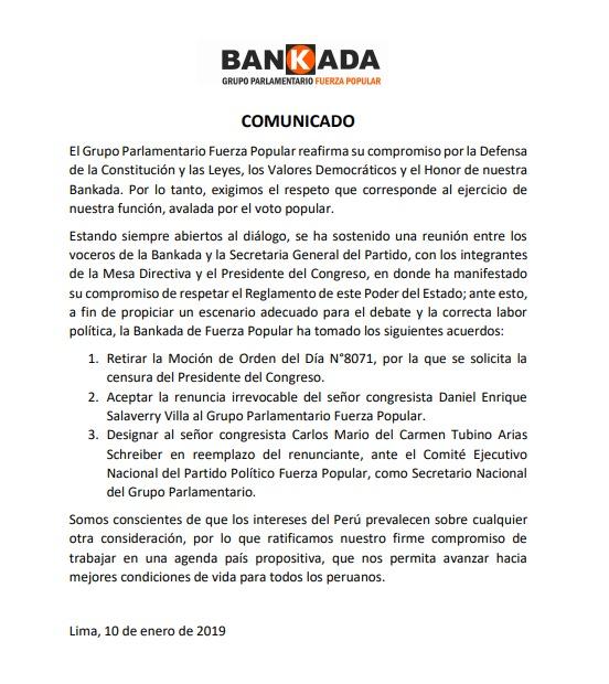 Documento que oficializa el retiro de la moción de censura contra Salaverry. (Foto: Fuerza Popular)