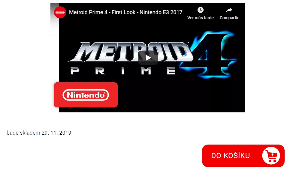 Fecha revela fecha de lanzamiento de Metroid Prime 4. (Captura de pantalla)