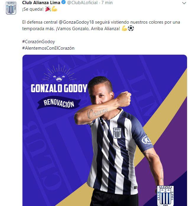 La publicación de Alianza Lima sobre la renovación de Gonzalo Godoy.