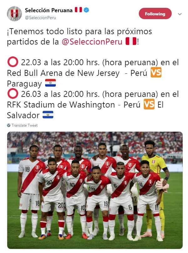 Twitter de Selección Peruana.