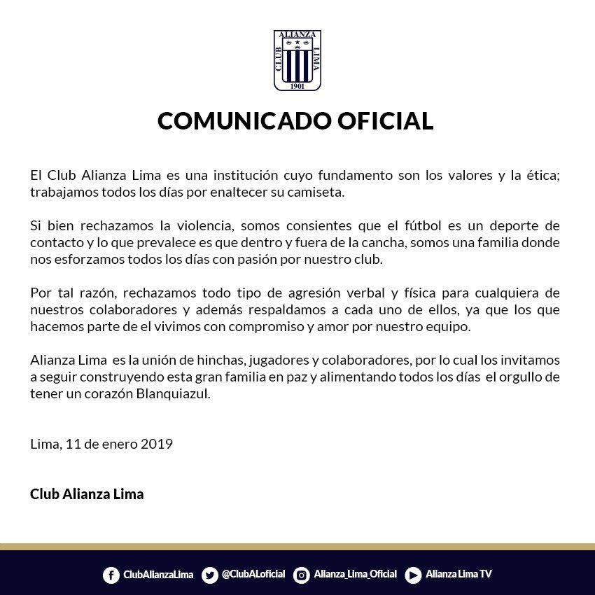 El comunicado de Alianza Lima en el que rechaza las agresiones. (Foto: Difusión)