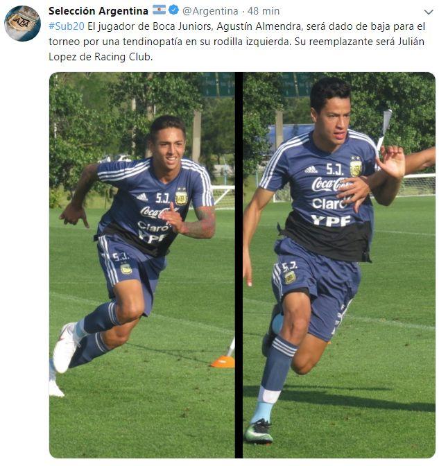 Agustín Almendra se perderá el Sudamericano Sub 20.