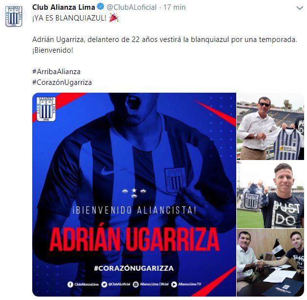 Alianza Lima anunció la llegada de Adrián Ugarriza.