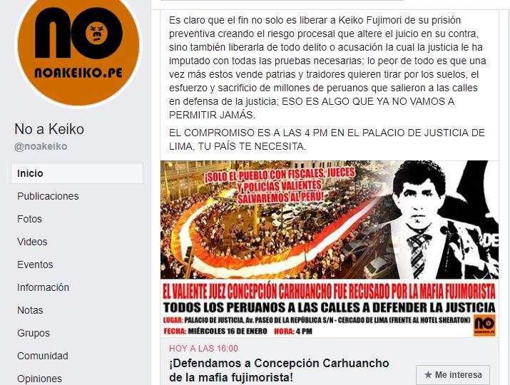 La marcha está programada desde las 16:00 hasta las 20:00 horas. (Captura: Facebook)