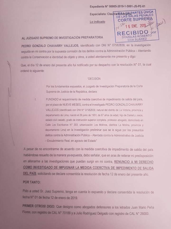 Este es el documento que Chávarry envió al Juzgado Supremo de Investigación Preparatoria. (Foto: Difusión)