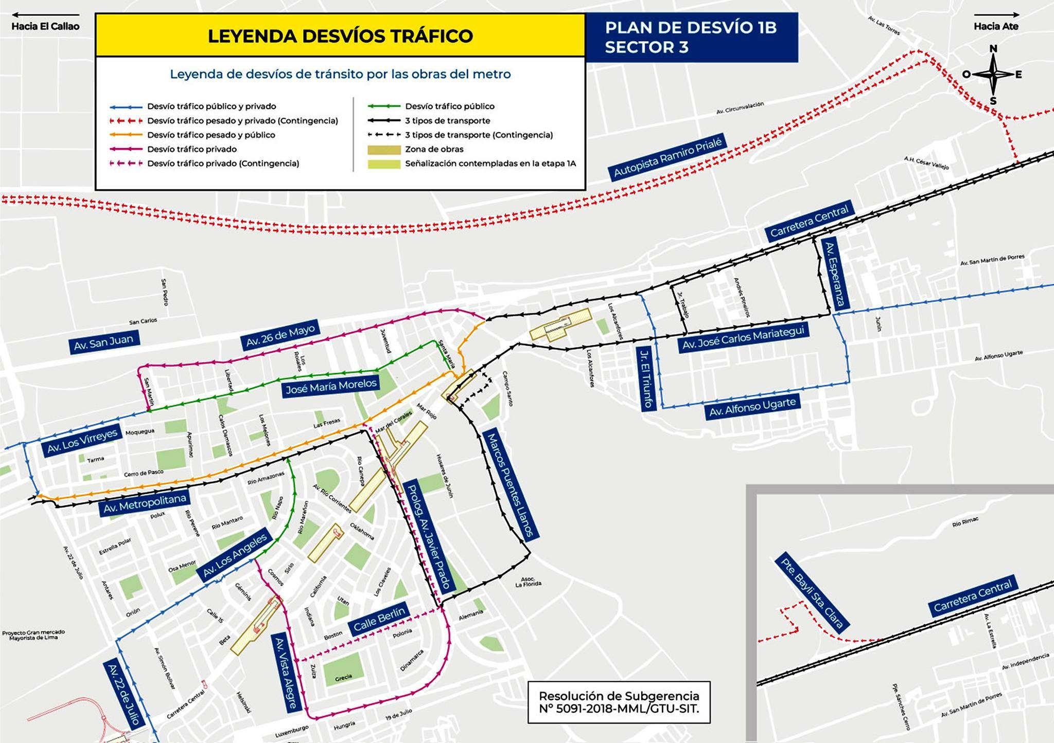 Este es el plan de desvíos y las rutas alternas ante el cierre de la Carretera Central. (Municipalidad de Ate)