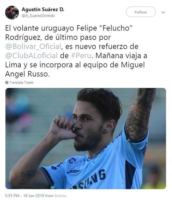 Felipe Rodríguez rescindió contrato con Bolívar con la llegada del nuevo entrenador. (Foto: Facebook Bolívar)