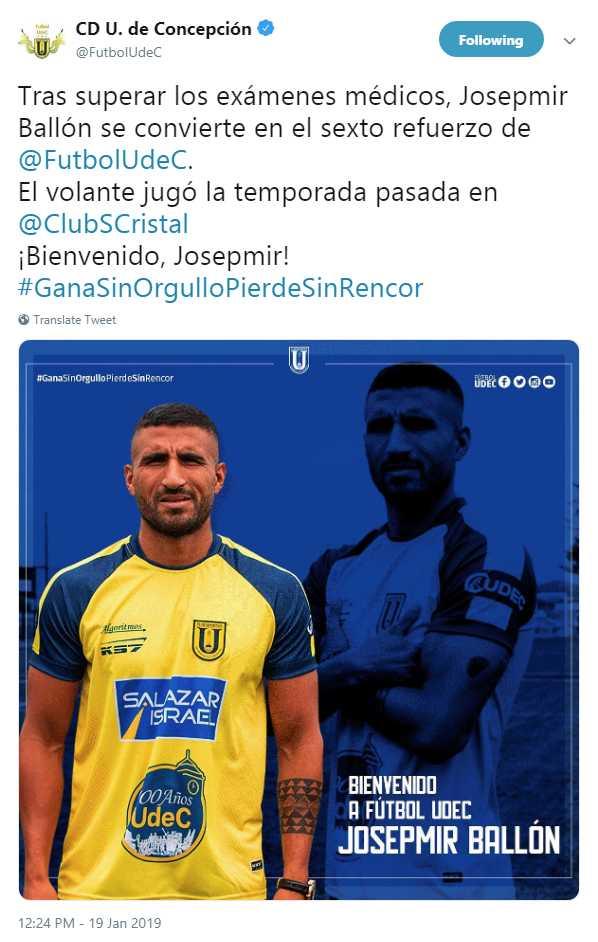 Josepmir Ballón fue presentado como jugador de Universidad de Concepción. (Foto: Twitter Universidad de Concepción)