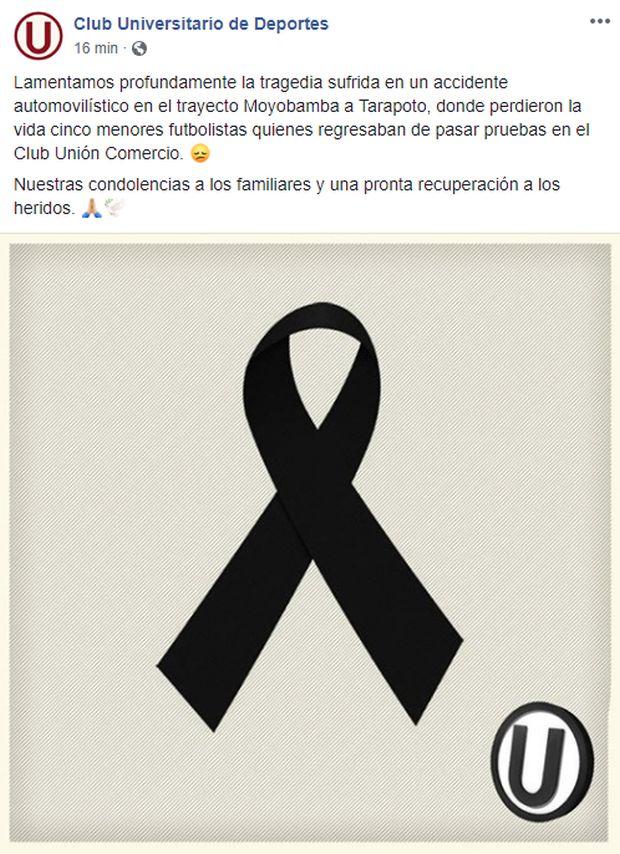 Universitario de Deportes lamentó el accidente en el que murieron cinco menores de edad que intentaban ingresar a Unión Comercio.