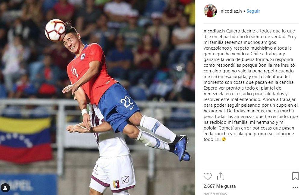 Las disculpas de Nicolás Díaz en Instagram.