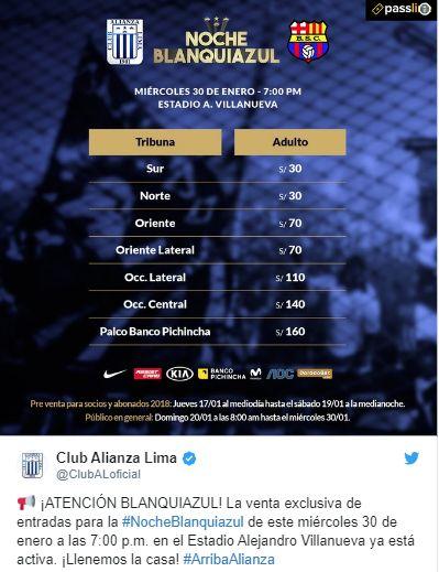Los precios de las entradas para la Noche Blanquiazul.