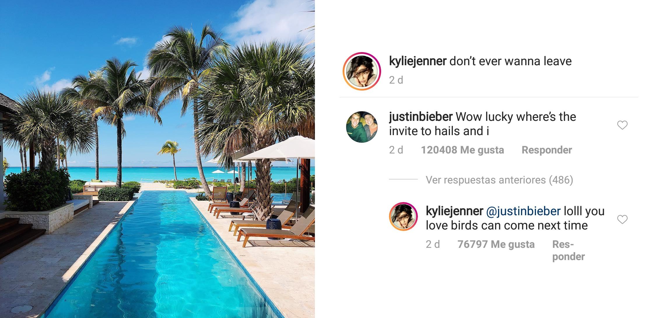 Kylie Jenner y Justin Bieber bromean (Foto: Instagram)