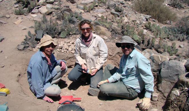 Equipo de Clarisa Otero durante el hallazgo. (Foto: Clarisa Otero).