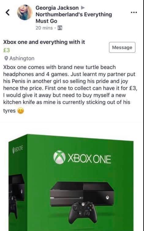La joven madre de familia causó revuelo al ofertar a un precio casi de regalo la preciada consola de su expareja. (Foto: Georgia Jackson en Facebook)