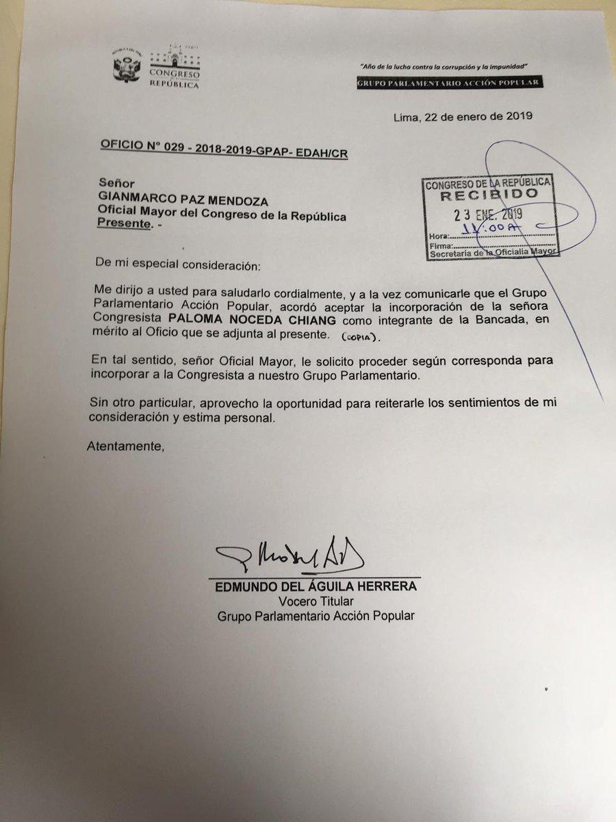 Paloma Noceda integrará ahora la bancada de Acción Popular.