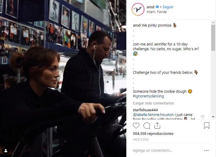 Alex Rodriguez también utilizó su cuenta de Instagram para compartir el innovador reto. (Foto: Captura de Instagram)
