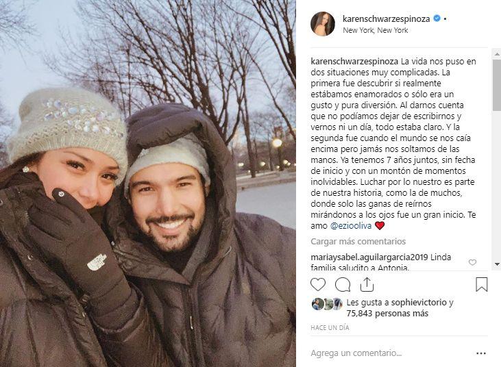 La conductora de televisión Karen Schwarz compartió este emotivo mensaje en Instagram. (Foto: Captura)