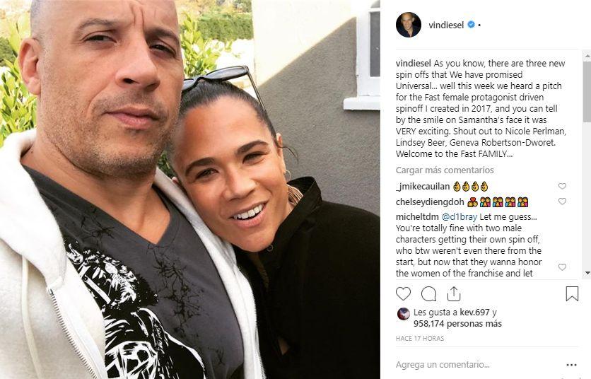 Con esta fotografía Vin Diesel confirmó a las guionistas del spin off femenino de la franquicia. (Foto: @vindiesel)